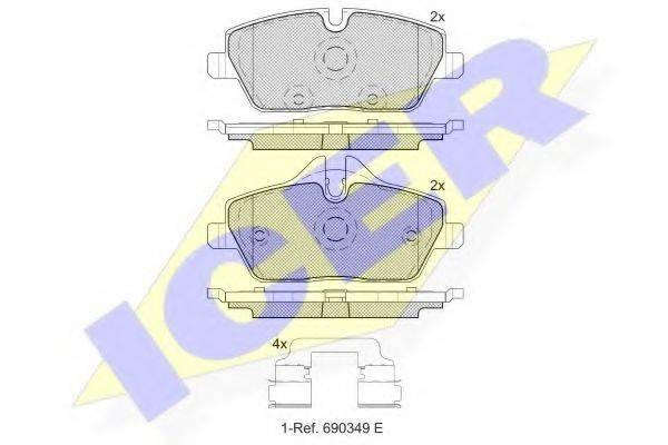 Комплект тормозных колодок, дисковый тормоз ICER 181662-200