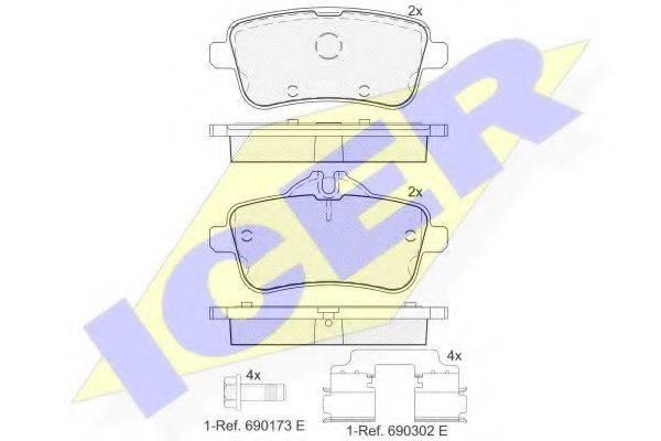 Комплект тормозных колодок, дисковый тормоз ICER 182072-200