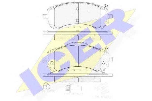 Комплект тормозных колодок, дисковый тормоз ICER 182160