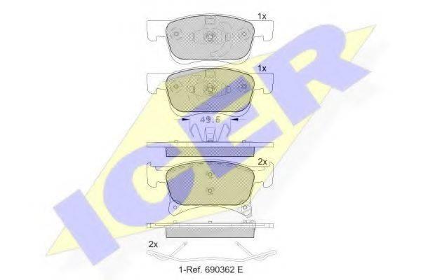 Комплект тормозных колодок, дисковый тормоз ICER 182221