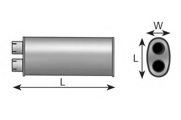 Средний глушитель выхлопных газов; Средний глушитель выхлопных газов, универсальный DINEX 47300