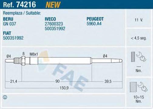Свеча накаливания FAE 74216