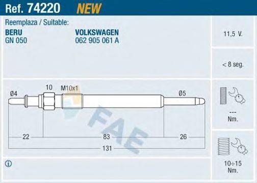 Свеча накаливания FAE 74220