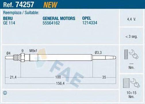 Свеча накаливания FAE 74257