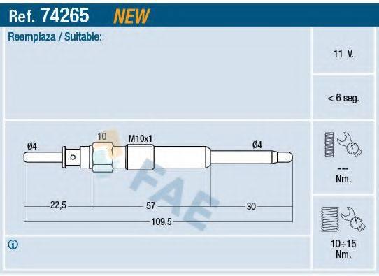 Свеча накаливания FAE 74265