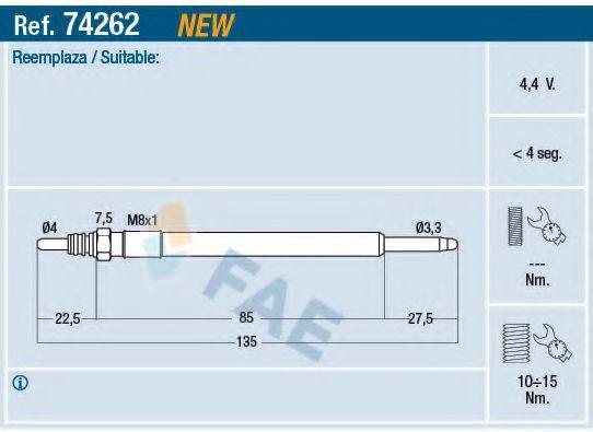 Свеча накаливания FAE 74262
