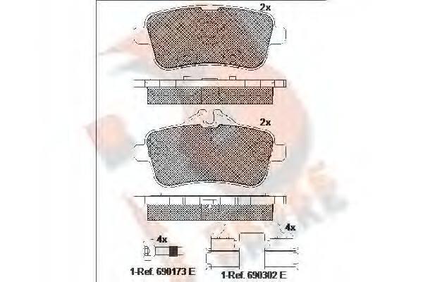 Комплект тормозных колодок, дисковый тормоз R BRAKE RB2072-200