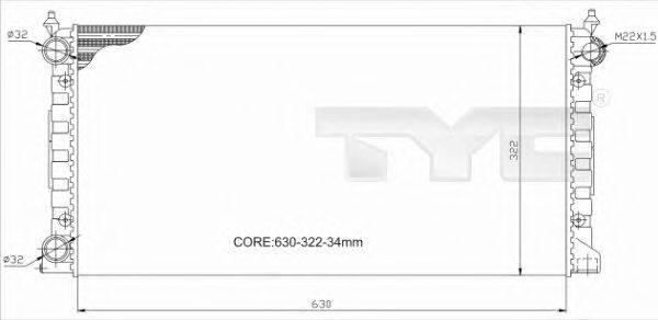 Радиатор, охлаждение двигателя TYC 737-0034-R