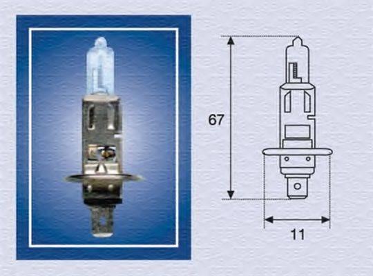 Лампа накаливания, фара дальнего света; Лампа накаливания, основная фара; Лампа накаливания, противотуманная фара; Лампа накаливания MAGNETI MARELLI 002551100000